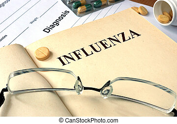 Influenza (flu) - Word  Influenza (flu). Medical concept.