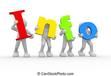 "Word ""info"" - 3d people - human character and word ""info""...."