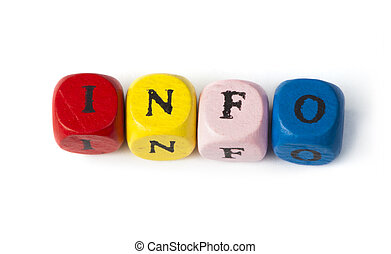 Word info on multicolored wooden cubes