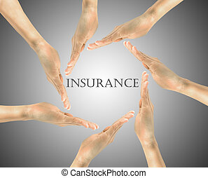 Word insurance in the center of the hand - Insurance...