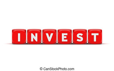 Word INVEST.Isolated on white background.3d rendered...
