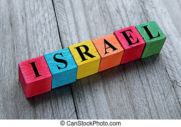word Israel on colorful wooden cubes