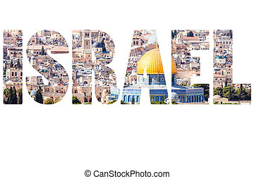 Word ISRAEL over national symbols.