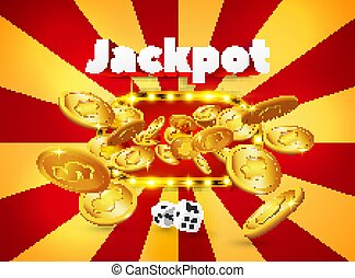Word Jackpot, above a light frame with coins appearing from it, on a red and orange retro background. Banner of luck, for gambling, casino, poker, slot, roulette or bone.