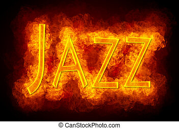 Jazz - Word Jazz created by fire flame on black background