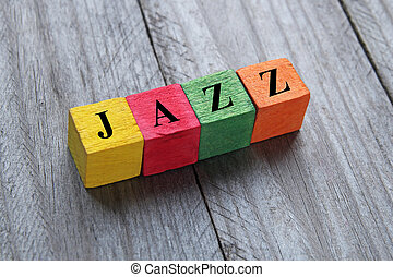 word jazz on colorful wooden cubes