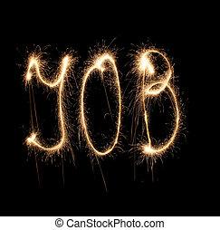 Word job written sparkler