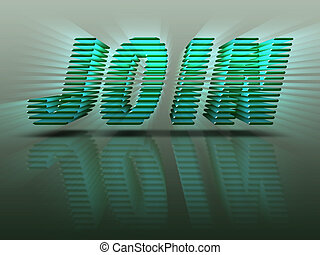 The word Join in bright green 3D letters with reflection and emitting rays.