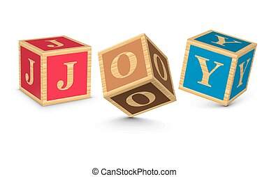 Word JOY written with blocks - JOY written with alphabet...