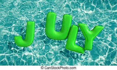 "word ""JULY"" shaped inflatable swim ring floating in a..."
