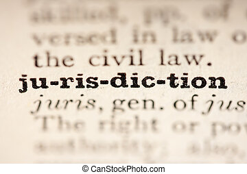 Word jurisdiction from the old dictionary, a close up.