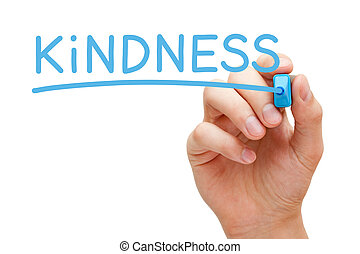Hand writing the word Kindness with blue marker on transparent wipe board isolated on white background.