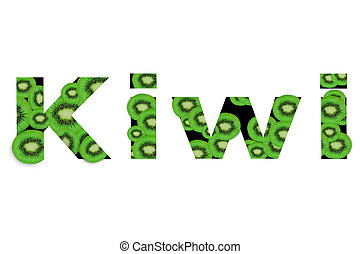 Word Kiwi created from assortment of kiwi slice on white background.
