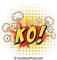 KO - Word KO with cloud explosion background