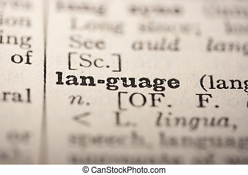 Word language from the old dictionary, a close up.