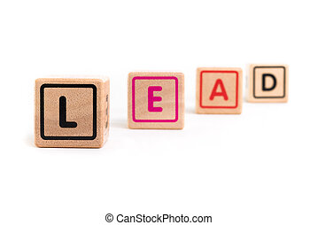 "Word ""Lead"" with colorful blocks and white background"