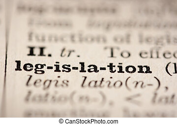Word legislation from the old dictionary, a close up.