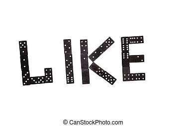 """Word """"like"""" made by black domino pieces isolated on white background"""