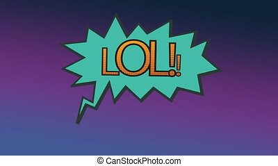 Word LOL in exclamation bubble on purple background