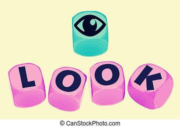 word LOOK on cubes