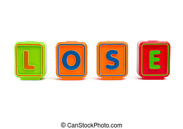 "Word ""Lose"" with colorful blocks and white background"