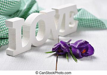 "word ""love and crocus flowers"
