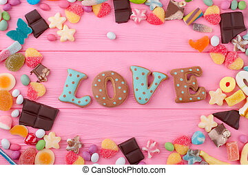 Word love from baked cookie.