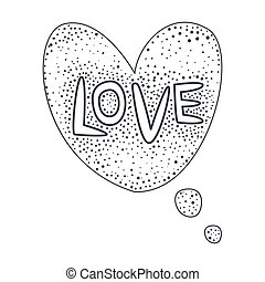 Word Love, Hand Drawn Comic Speech Bubble Template, Isolated...