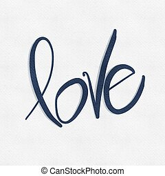 Word Love in Blue paint on White textured background