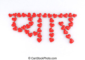 word love in Hindi with small red hearts