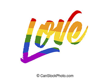 word LOVE in six colors, the pride of LGBT on a white background
