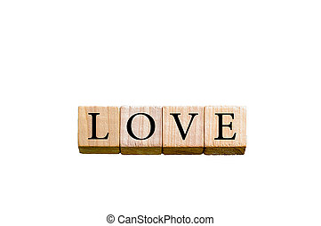 Word LOVE isolated on white background with copy space
