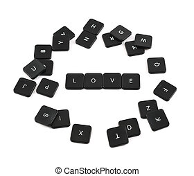 Word love made of keyboard buttons isolated