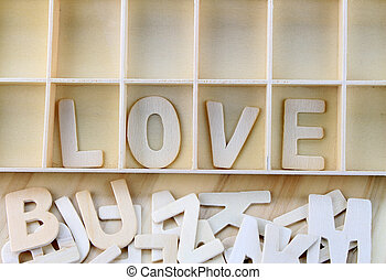 Word love made with wooden letters alphabet