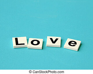 Word love on blue background