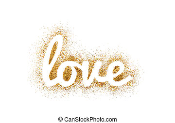 Word love on golden glitter isolated on white background