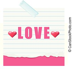 Word love on line paper illustration