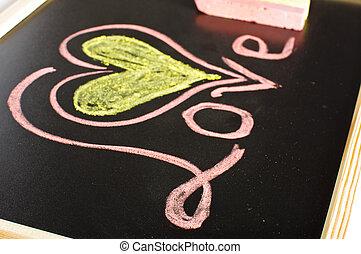 Word love on the blackboard