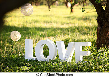 Word Love on the grass