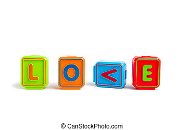 "Word ""LOVE"" with colorful blocks and white background"