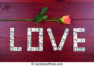 Word love with dominoes