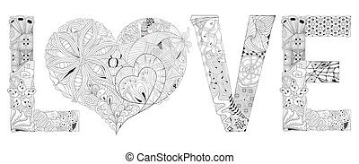 Word love with heart for coloring. Vector decorative zentangle object