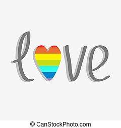 Word love with rainbow heart. Flat design.