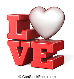 Word LOVE with red heart 3D