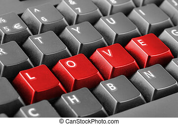 Word love written with keyboard buttons