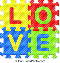 Word LOVE written with puzzle