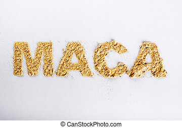 Word maca piled of maca root powder on white background.