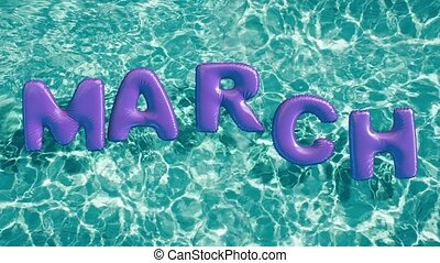 """word """"MARCH"""" shaped inflatable swim ring floating in a..."""