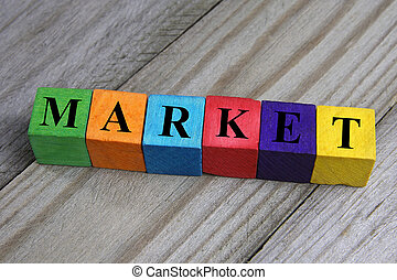 word market on wooden colorful cubes