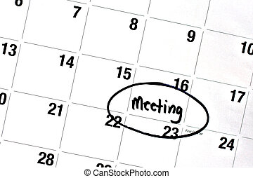 Word Meeting Written and Circled on Calendar